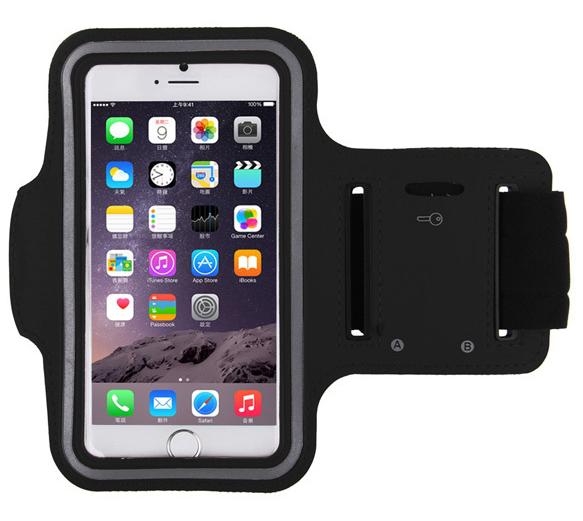 Спортивный чехол на руку для бега для iPhone 6/6S чёрный