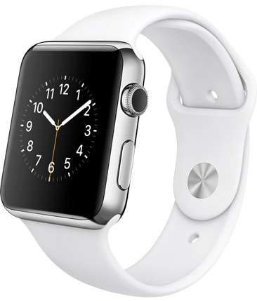 Apple Watch steel white Корпус 42 мм, нержавеющая сталь, белый спортивный ремешок (42mm Stainless Steel Case with White Sport Band) (D1)