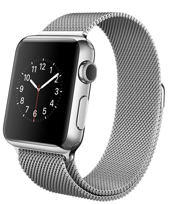 Apple Watch milano Корпус 38 мм, нержавеющая сталь, миланский сетчатый браслет (38mm Stainless Steel Case with Milanese Loop) (MJ322) (C4)