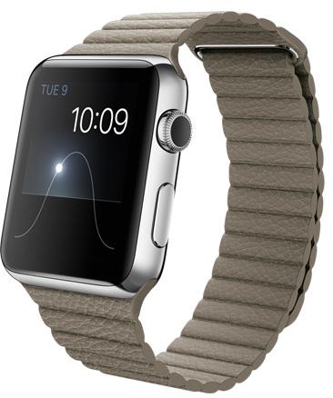 Apple Watch Stone Leather Loop Корпус 42 мм, нержавеющая сталь, бежевый кожаный ремешок MJ432RU/A