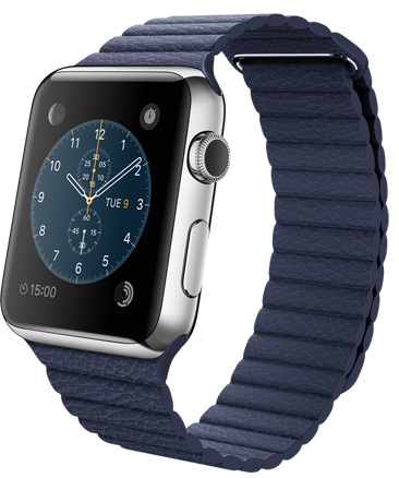 Apple Watch Blue Leather Loop Корпус 42 мм, нержавеющая сталь, синий кожаный ремешок (42mm Stainless Steel Case with Bright Blue Leather Loop) (MJ462)