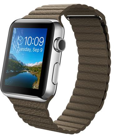Apple Watch Brown Leather Loop Корпус 42 мм размер L, нержавеющая сталь, светло-коричневый кожаный ремешок (MJ442)