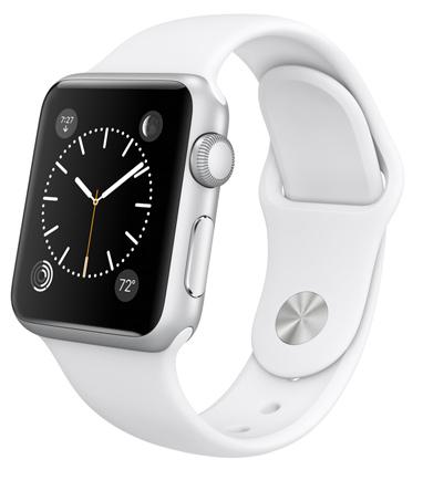 Умные часы Apple Watch Sport, Корпус 38 мм из серебристого алюминия, белый спортивный ремешок (белый) (A1)
