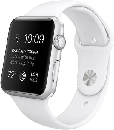 Часы Apple Watch Sport, Корпус 42 мм из серебристого алюминия, спортивный ремешок белый (B1)
