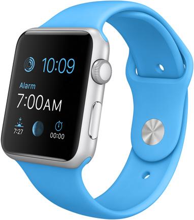 Часы Apple Watch Sport, Корпус 42 мм из серебристого алюминия, спортивный ремешок голубой (B2) (MLC52)