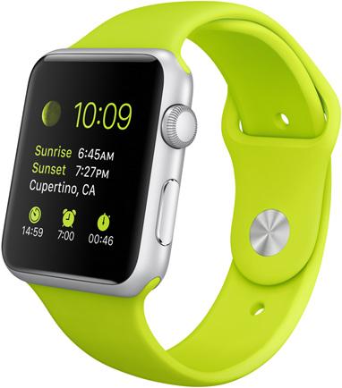 Часы Apple Watch Sport, Корпус 42 мм из серебристого алюминия, спортивный ремешок зеленый (B3)