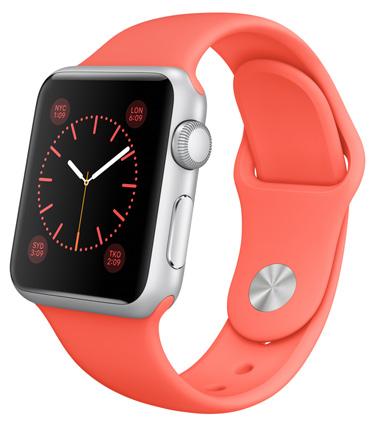 Apple Watch Sport Pink Корпус 38 мм, серебристый алюминий, коралловый спортивный ремешок (A4)(MJ2W2)