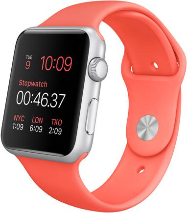 Часы Apple Watch Sport, Корпус 42 мм из серебристого алюминия, спортивный ремешок розовый (B4) (MJ3Q2)