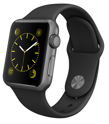 Apple Watch Sport Black корпус 38 мм, алюминий «серый космос», чёрный спортивный ремешок (MJ2X2) (A5)