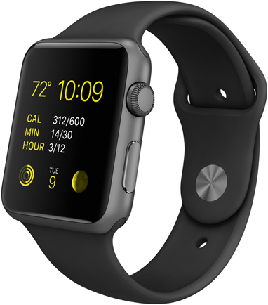 """Умные часы Apple Watch Sport, Корпус 42 мм из алюминия цвета """"серый космос"""", черный спортивный ремешок (серый космос) (MJ3T2)"""