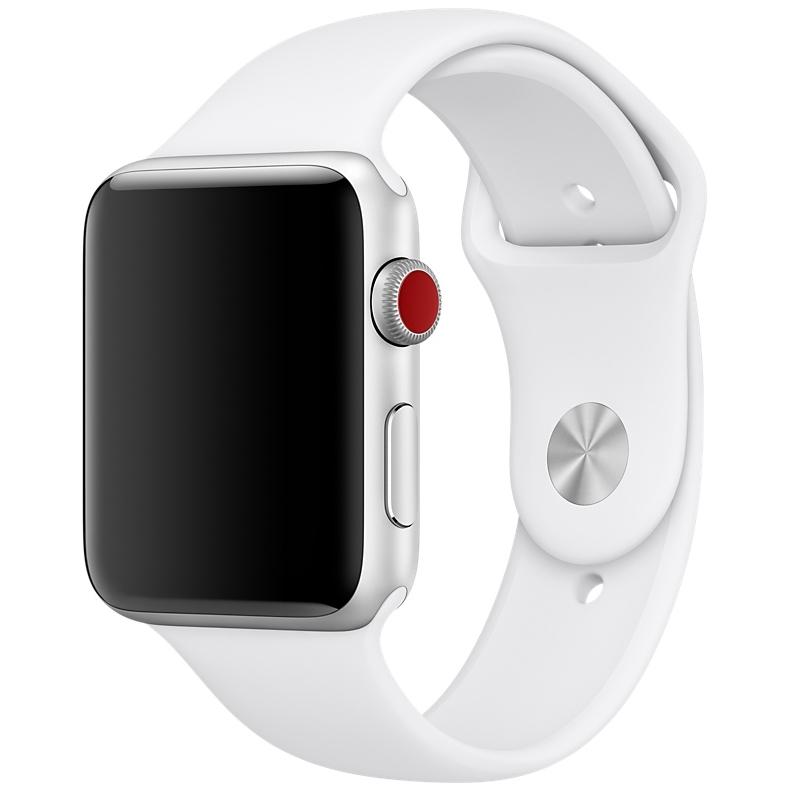Спортивный ремешок белого цвета для Apple Watch 38 мм, размеры S/M и M/L (MJ4E2ZM/A)