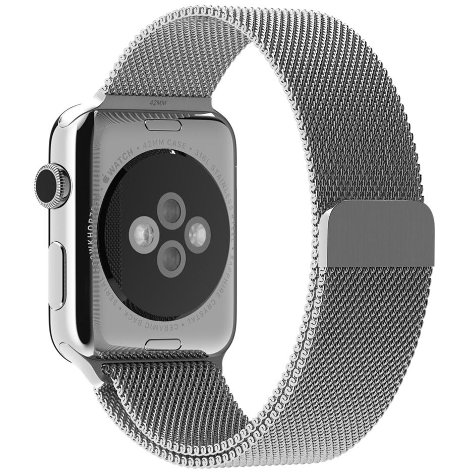 Миланский сетчатый браслет серебристого цвета для Apple Watch 38 мм (MJ5E2ZM/A)