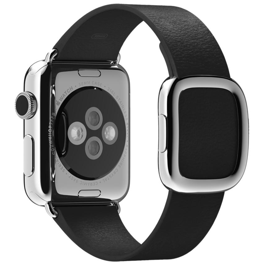Ремешок чёрного цвета с современной пряжкой для Apple Watch 38 мм, размер M (MJY82ZM/A)