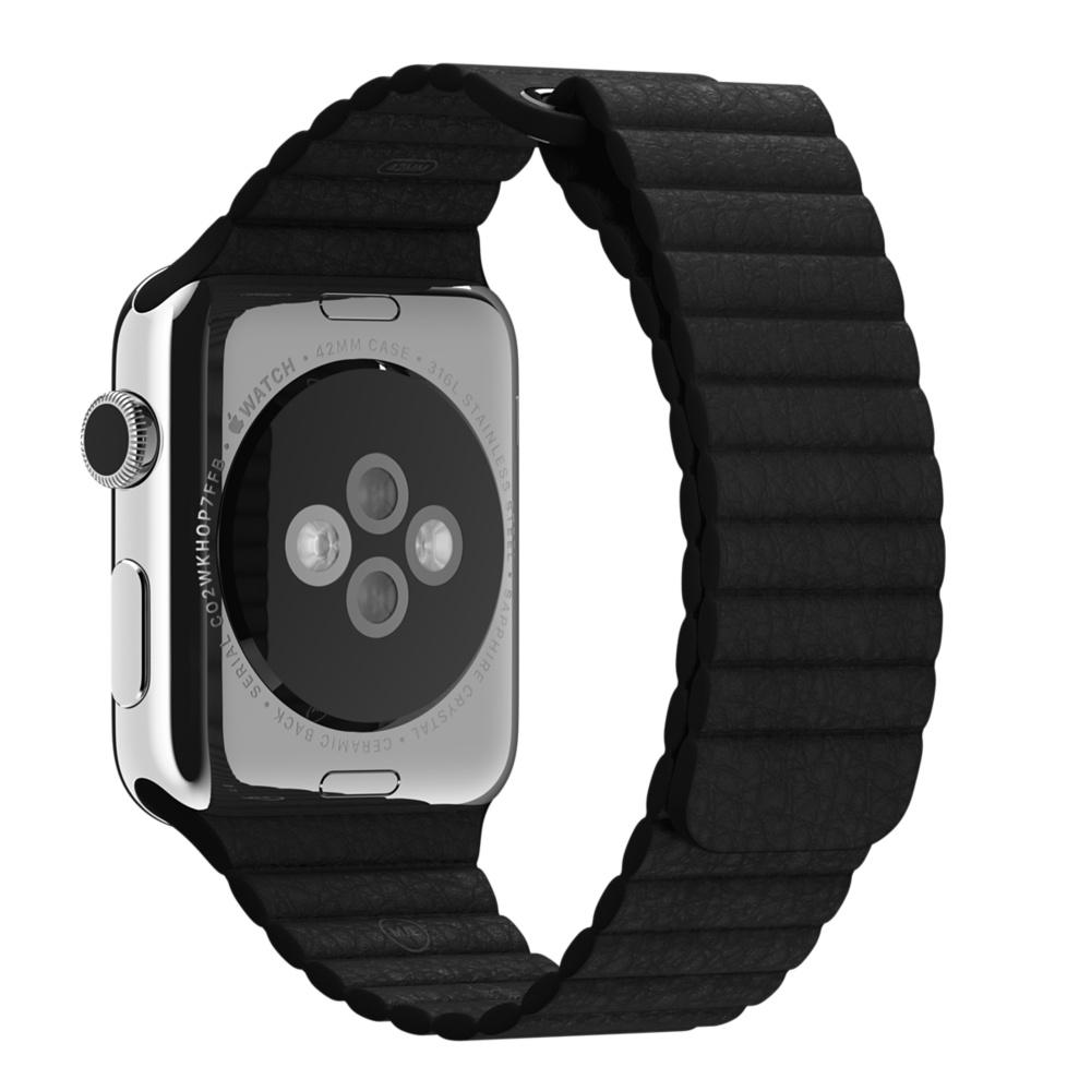 Кожаный ремешок чёрного цвета для Apple Watch 42 мм, размер L