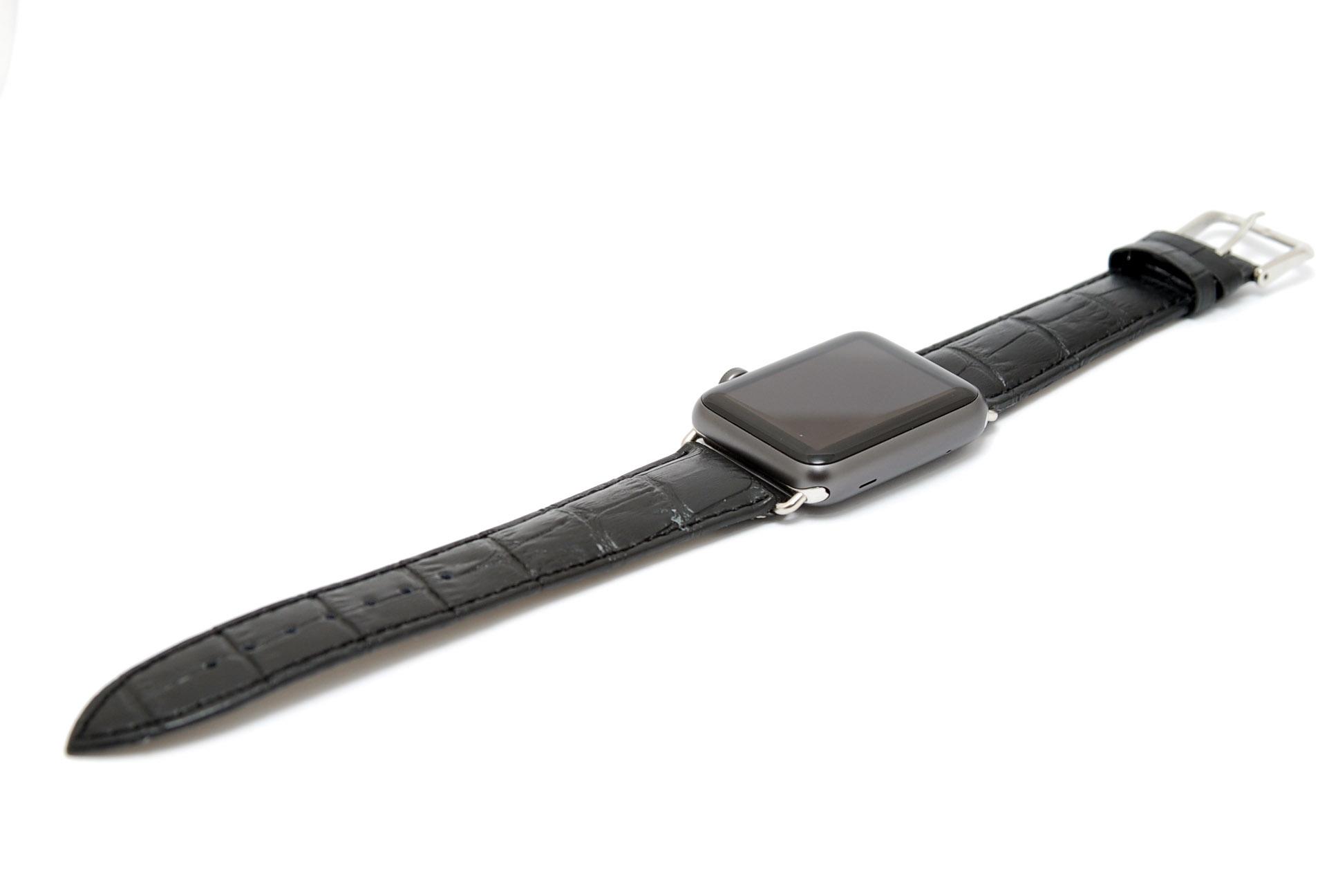Кожанный ремешок для часов для Apple черный 42мм