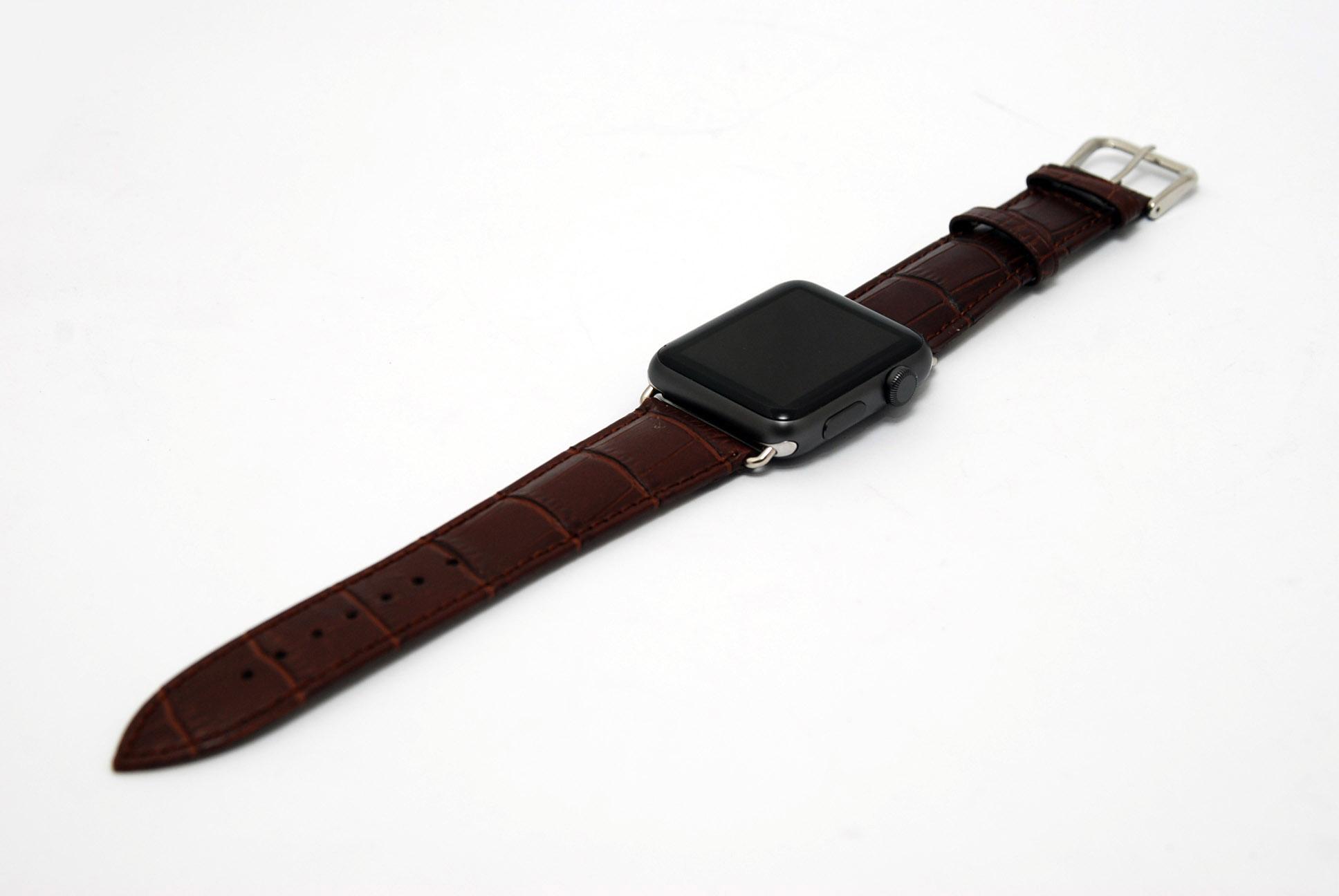 Кожанный ремешок для часов для Apple коричневый 42мм