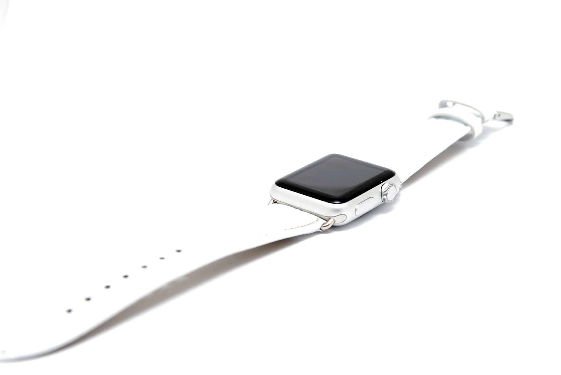 Кожанный ремешок для часов для Apple белый 42мм