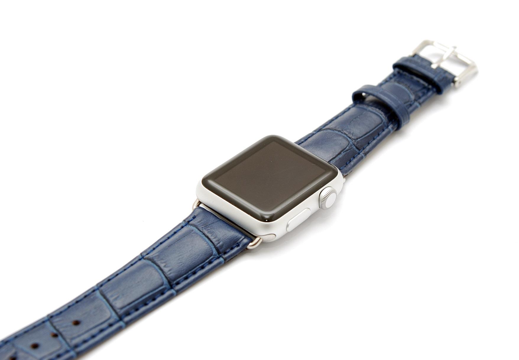 Кожанный ремешок для часов для Apple синий 42мм