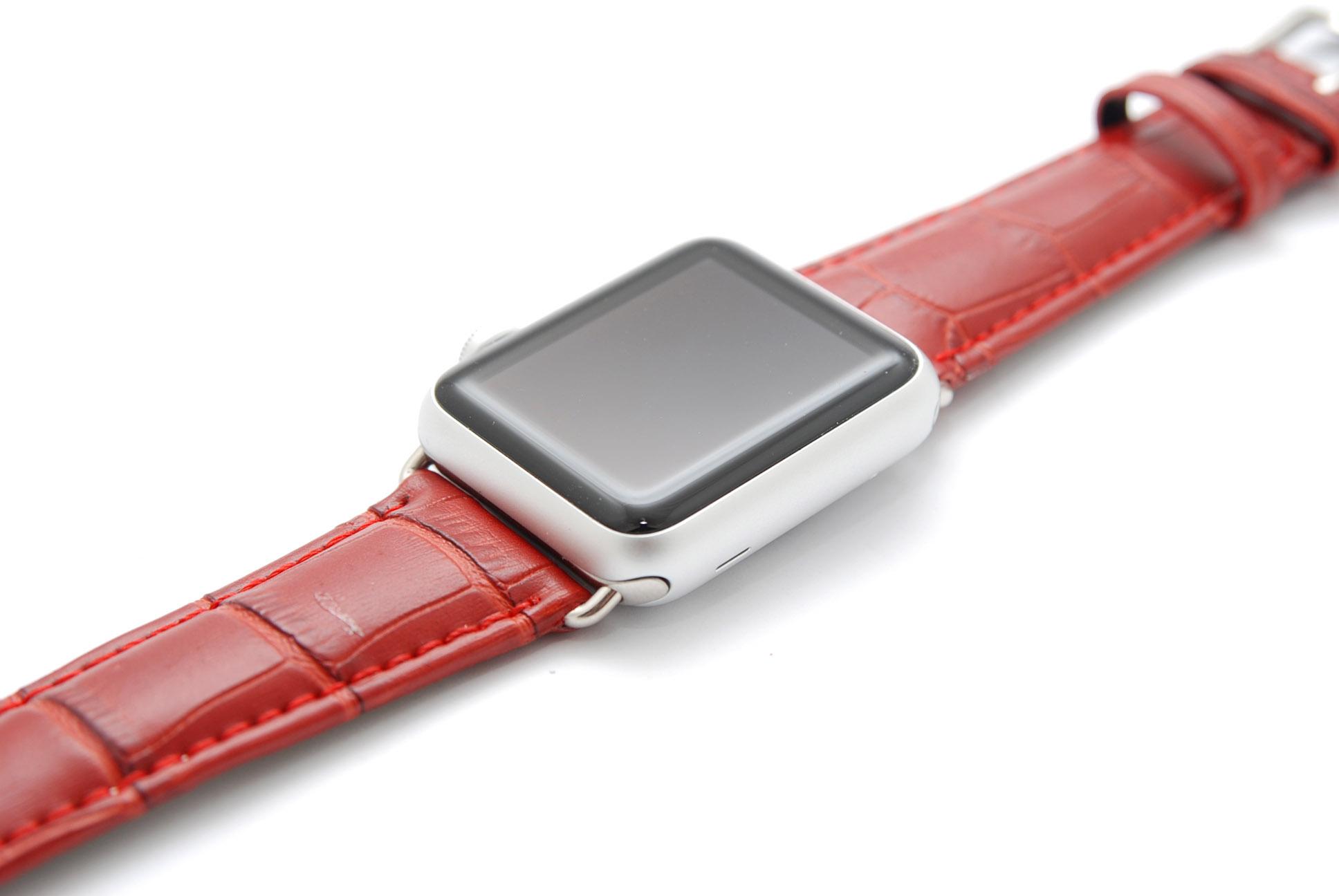Кожанный ремешок для часов для Apple красный 42мм