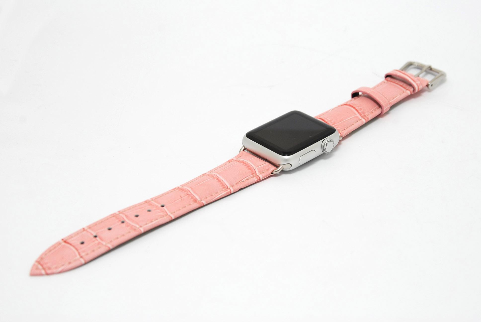 Кожанный ремешок для часов для Apple розовый 38мм