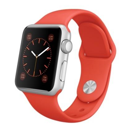 Apple Watch Sport Orange корпус 38 мм из серебристого алюминия, оранжевый спортивный ремешок