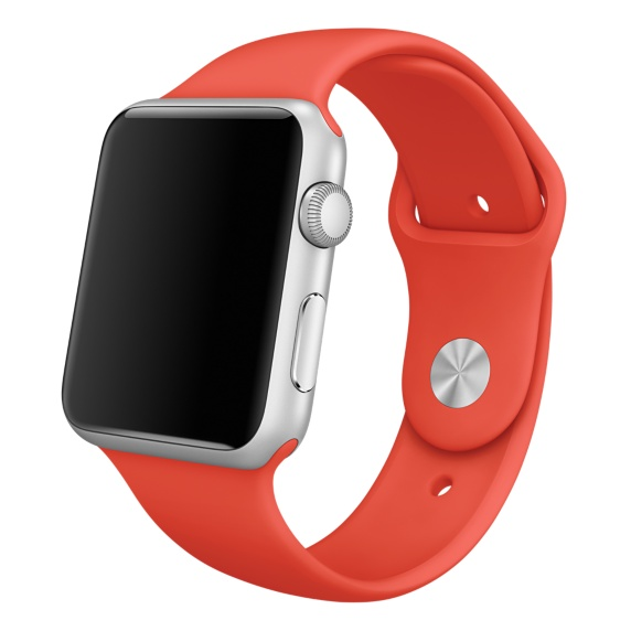 Часы Apple Watch Sport, Корпус 42 мм из серебристого алюминия, спортивный ремешок оранжевый (B4) (MLC42)