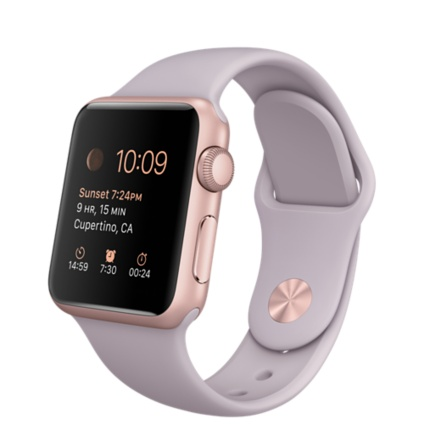 Apple Watch Sport Корпус 38 мм, алюминий цвета «розовое золото», спортивный ремешок сиреневого цвета (MLCH2LL/A)