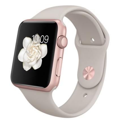Умные часы Apple Watch Sport, Корпус 42 мм, алюминий цвета «розовое золото», ремешок бежевого цвета (MLC62)