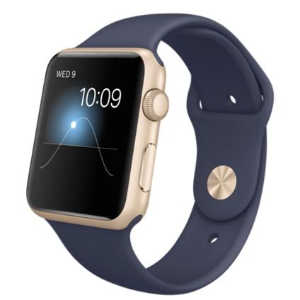 Умные часы Apple Watch Sport, Корпус 42 мм из золотистого алюминия, темно-синий спортивный ремешок (MLC72) (темно-синий)