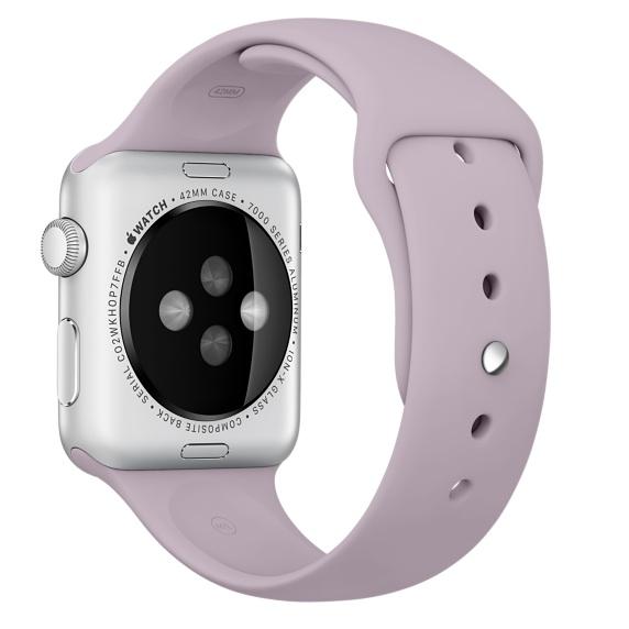 Спортивный ремешок сиреневого цвета для Apple Watch 38 мм, размеры S/M и M/L (MLKV2ZM/A)