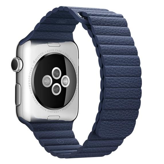 Кожаный ремешок тёмно-синего цвета для Apple Watch 42 мм, размер M