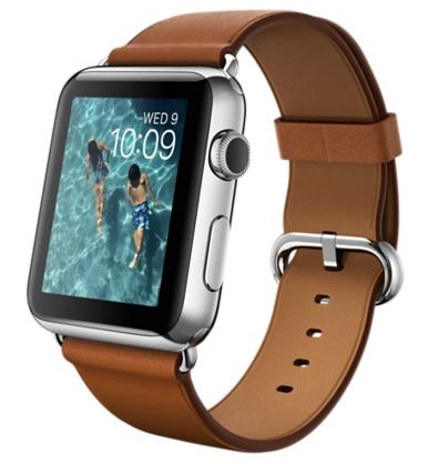 Apple Watch steel classic Корпус 42 мм из нержавеющей стали, золотисто-коричневый ремешок с классической пряжкой (42mm Stainless Steel Case with Saddle Brown Classic Buckle)