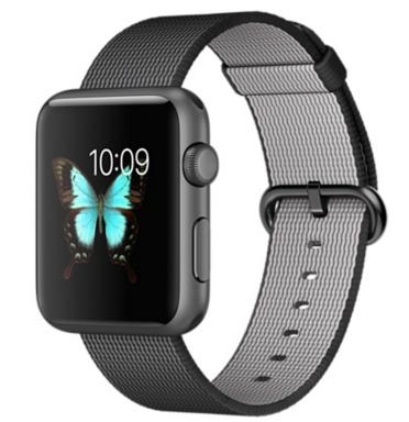 Apple Watch Sport Корпус 42 мм, алюминий цвета «серый космос», ремешок из плетёного нейлона чёрного цвета (MMFR2)