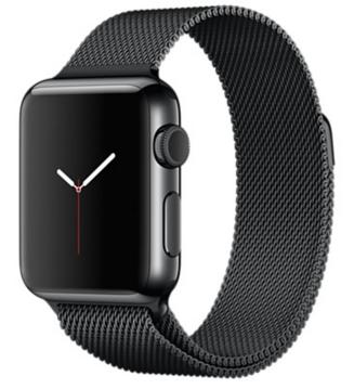 Apple Watch Корпус 38 мм, нержавеющая сталь цвета «чёрный космос», миланский сетчатый браслет цвета «чёрный космос» (MMFK2)