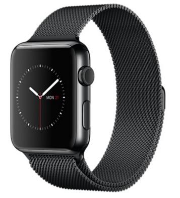Apple Watch Корпус 42 мм, нержавеющая сталь цвета «чёрный космос», миланский сетчатый браслет цвета «чёрный космос» (MMG22)