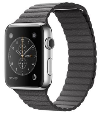 Apple Watch Корпус 42 мм, нержавеющая сталь, кожаный ремешок цвета «грозовое небо» (MMFX2) Размер ремешка M и L