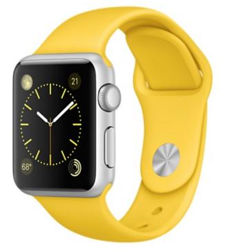 Apple Watch Sport Корпус 38 мм, серебристый алюминий, спортивный ремешок жёлтого цвета (MMF02)