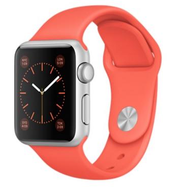 Apple Watch Sport Корпус 38 мм, серебристый алюминий, спортивный ремешок абрикосового цвета (MMF12)