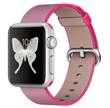 Apple Watch Sport Корпус 38 мм, серебристый алюминий, ремешок из плетёного нейлона розового цвета (MMF32)