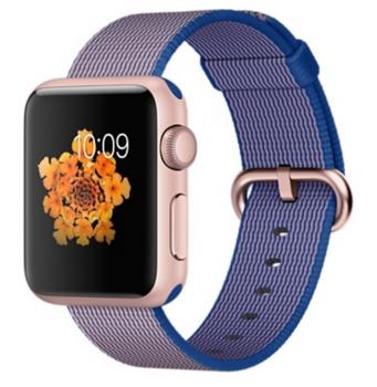 Apple Watch Sport Корпус 38 мм, алюминий цвета «розовое золото», ремешок из плетёного нейлона цвета «кобальт» (MMF42)