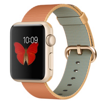 Apple Watch Sport Корпус 38 мм, золотистый алюминий, ремешок из плетёного нейлона цвета «золотистый/красный» (MMF52)