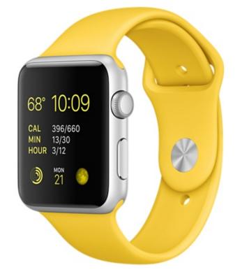 Apple Watch Sport Корпус 42 мм, серебристый алюминий, спортивный ремешок жёлтого цвета (MMFE2)