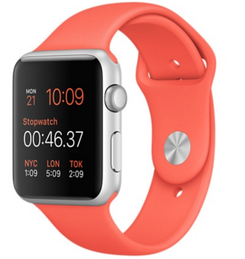 Apple Watch Sport Корпус 42 мм, серебристый алюминий, спортивный ремешок абрикосового цвета (MMFL2)