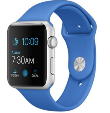 Apple Watch Sport Корпус 42 мм, серебристый алюминий, спортивный ремешок цвета «кобальт» (MMFM2)