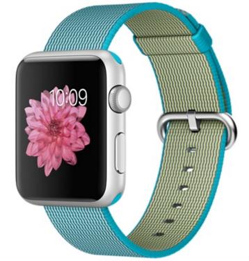 Apple Watch Sport Корпус 42 мм, серебристый алюминий, ремешок из плетёного нейлона цвета «аквамарин» (MMFN2)