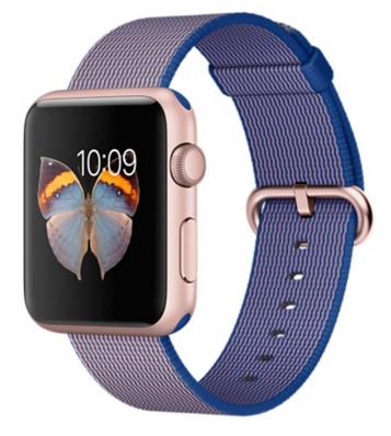 Apple Watch Sport Корпус 42 мм, алюминий цвета «розовое золото», ремешок из плетёного нейлона цвета «кобальт» (MMFP2)