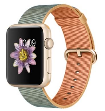 Apple Watch Sport Корпус 42 мм, золотистый алюминий, ремешок из плетёного нейлона цвета «золотистый/кобальт» (MMFQ2) (B9)