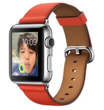 Apple Watch Корпус 38 мм, нержавеющая сталь, ремешок красного цвета с классической пряжкой (MMF82)