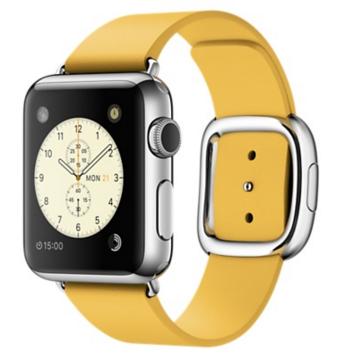 Apple Watch Корпус 38 мм, нержавеющая сталь, ремешок цвета «весенняя мимоза» с современной пряжкой (MMFD2) Размеры S/M/L