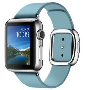 Apple Watch Корпус 38 мм, нержавеющая сталь, ремешок цвета «полярная лазурь» с современной пряжкой (MMF92) размеры S/M/L